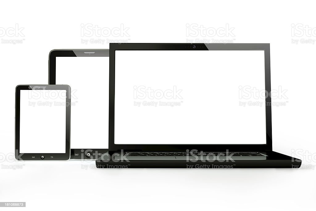Laptop and digital tablet with clipping paths stock photo