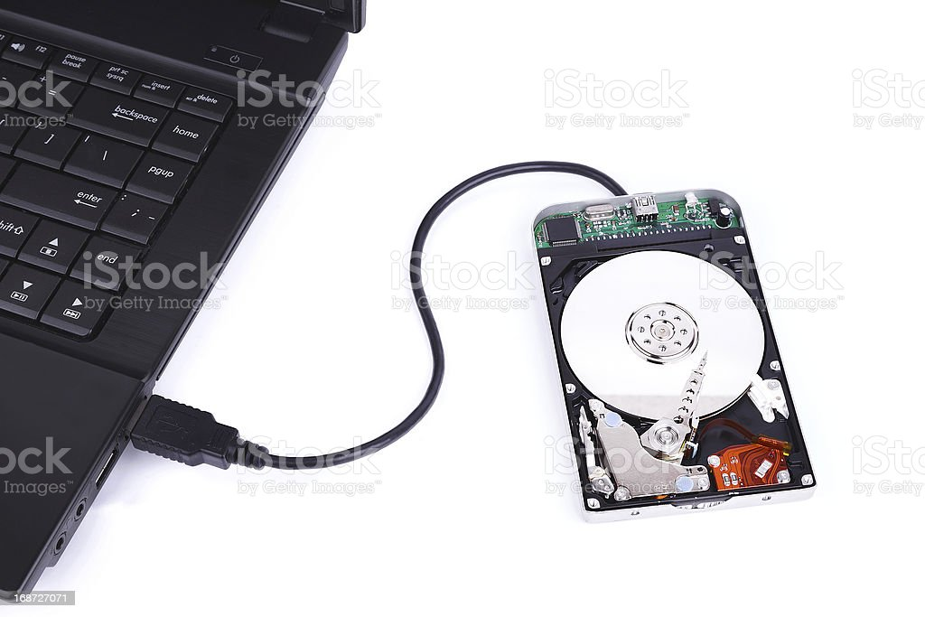 laptop and external hard disk isolated on white background stock photo