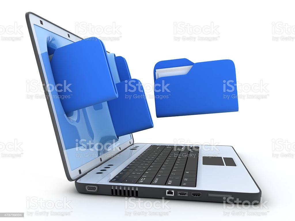 Laptop and file stock photo