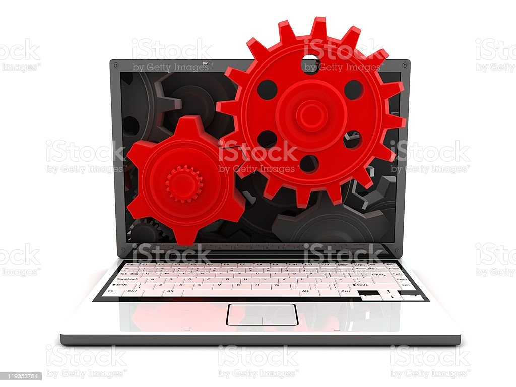 laptop and gears red royalty-free stock photo