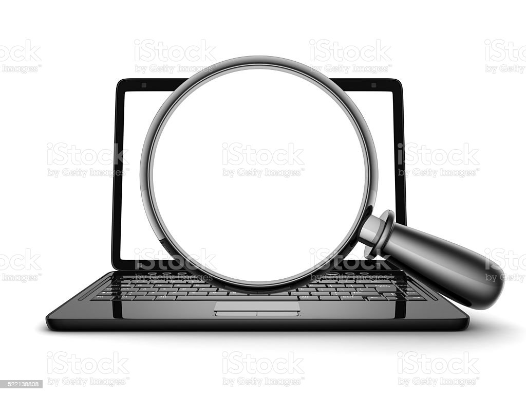 laptop and lens (empty) stock photo
