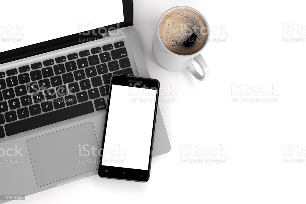 Laptop and Mobile stock photo