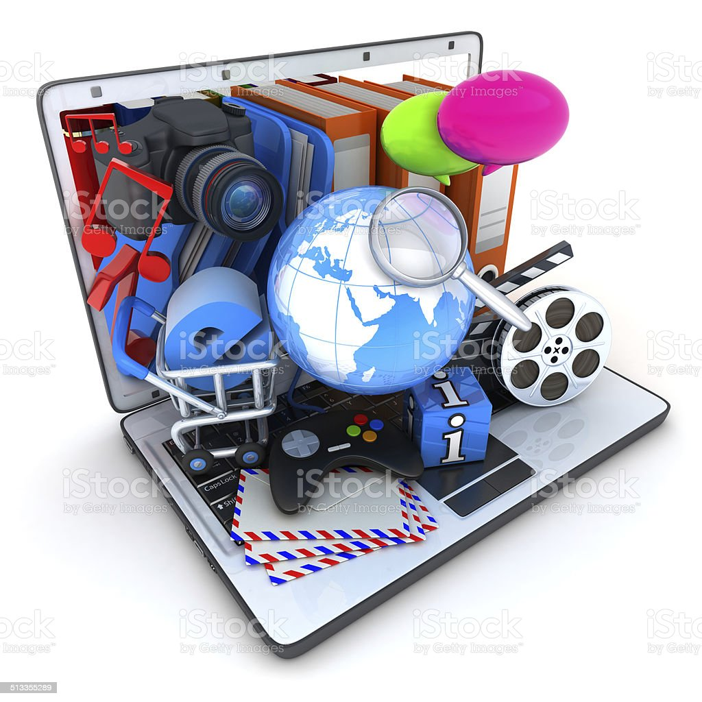 Laptop and multimedia stock photo