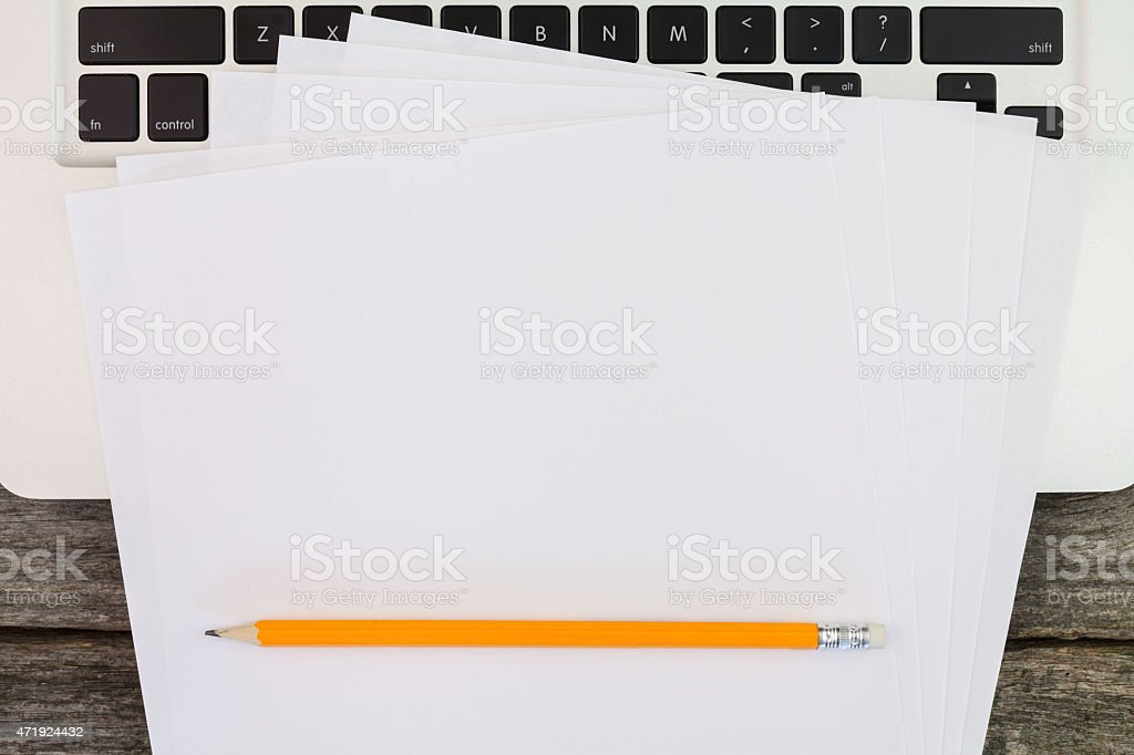 laptop and notes stock photo