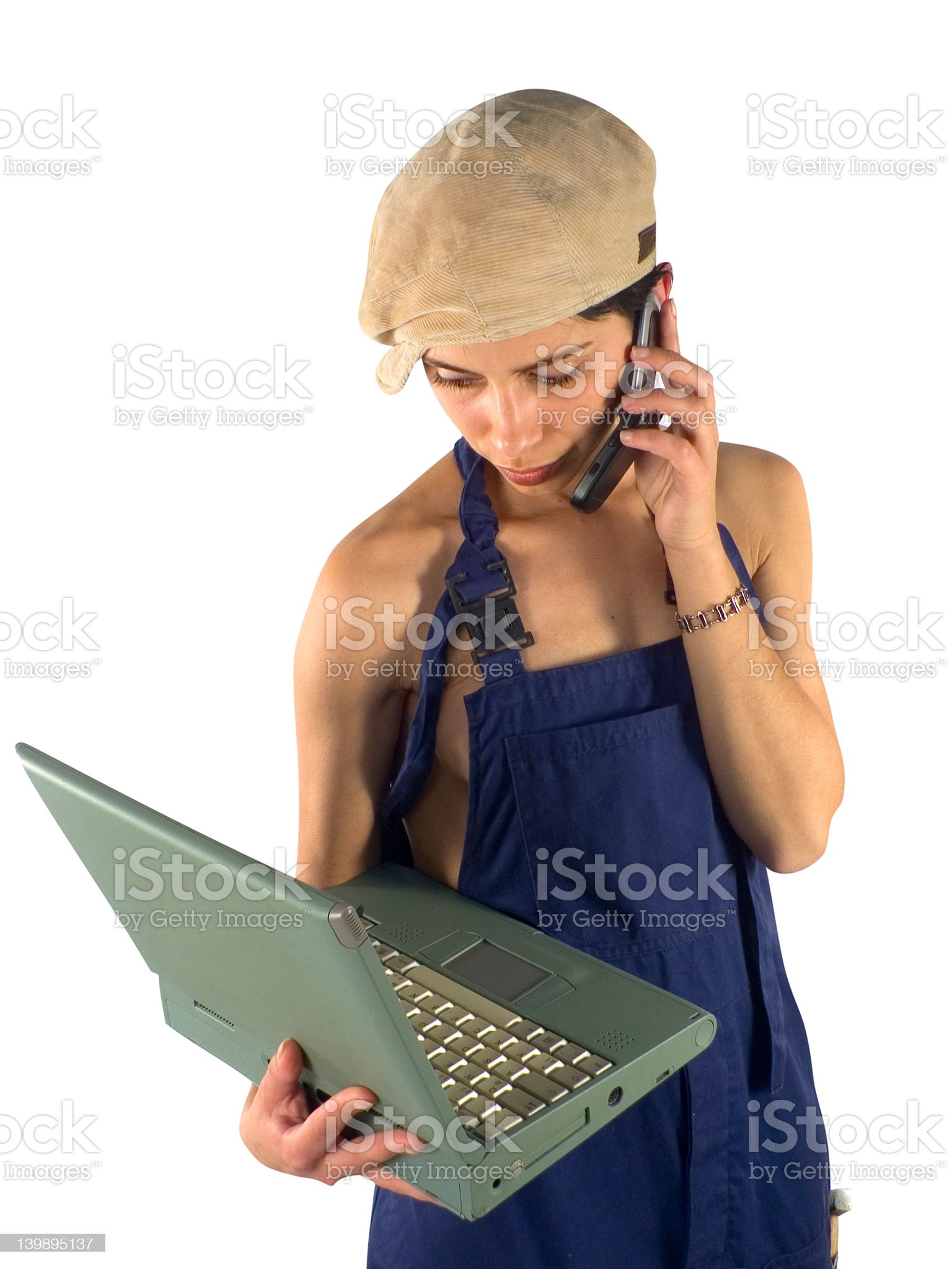 Laptop and phone communication royalty-free stock photo