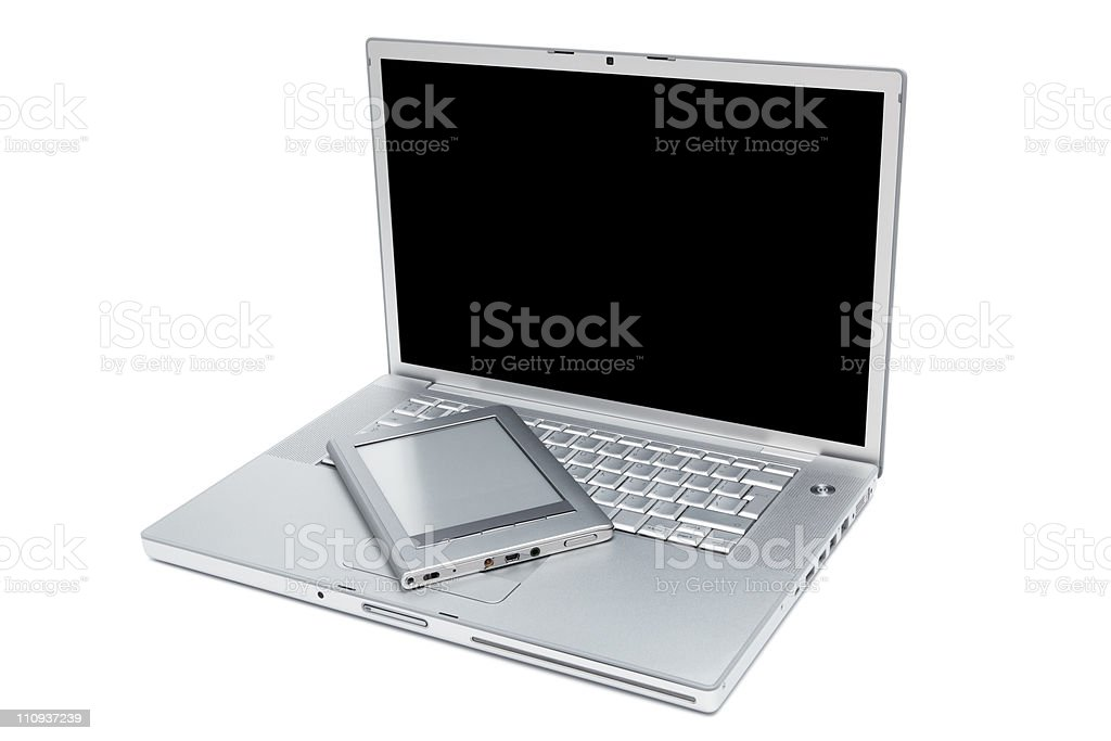 laptop and reader stock photo