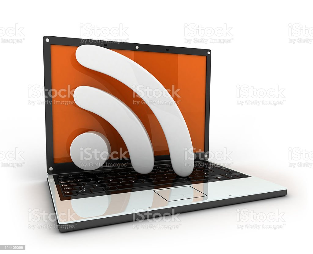 Laptop and RSS royalty-free stock photo