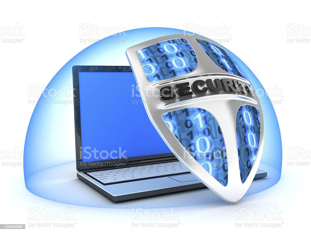 laptop and shield royalty-free stock photo