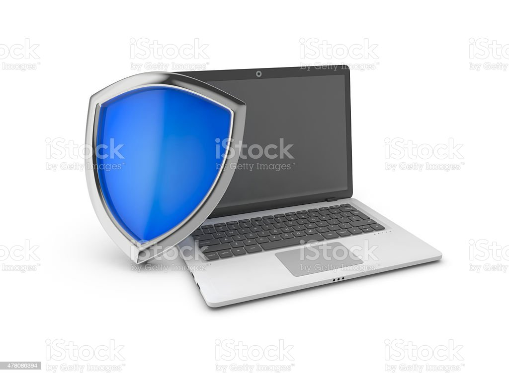Laptop and shield. royalty-free stock photo
