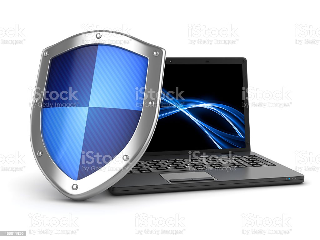 Laptop and shield stock photo