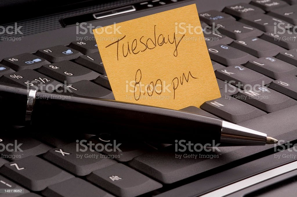 Laptop and sticky note stock photo