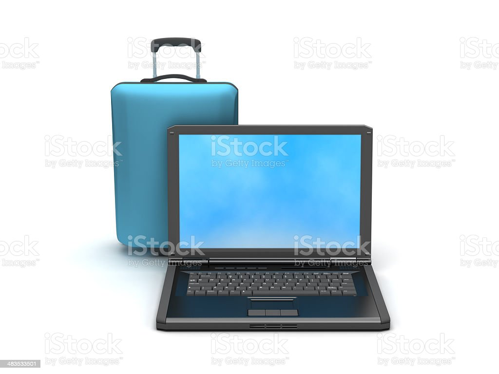 Laptop and travel bag on white background royalty-free stock photo