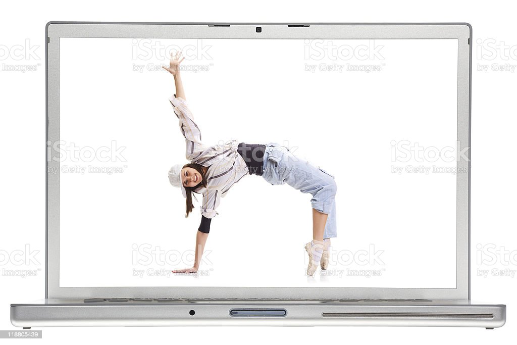 Laptop and woman. stock photo