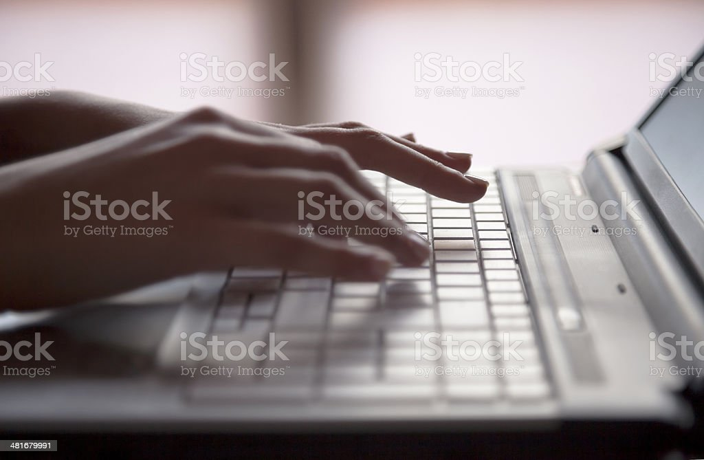 Laptop and words stock photo