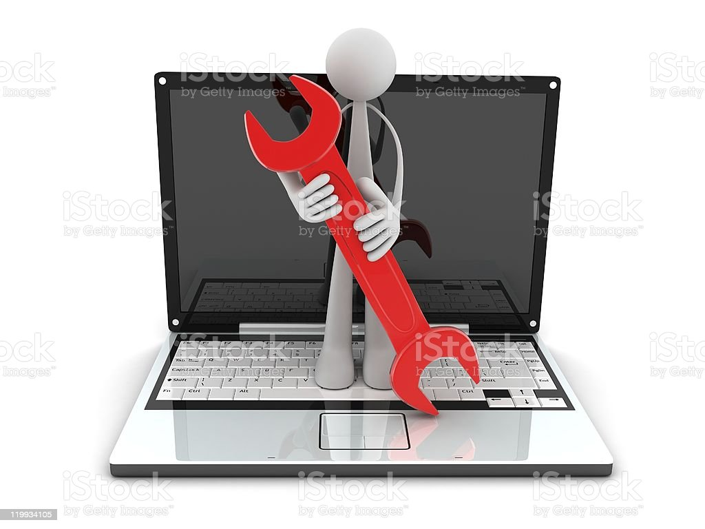 laptop and worker royalty-free stock photo