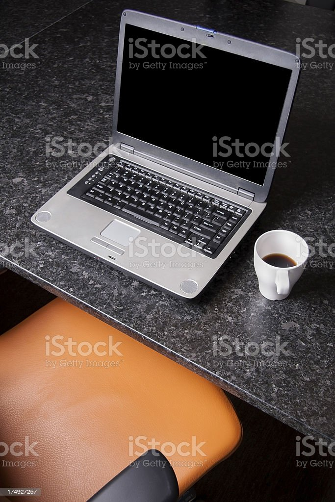 laptop at conference room table with coffee royalty-free stock photo