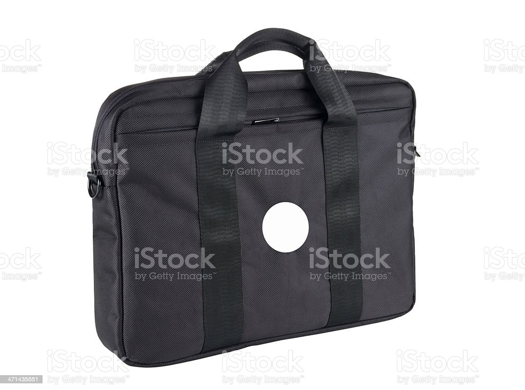 Laptop Bag With Blank Sticker stock photo