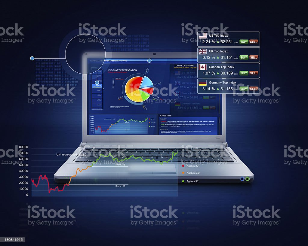 Laptop business stocks and holographic data on hitech screen royalty-free stock photo