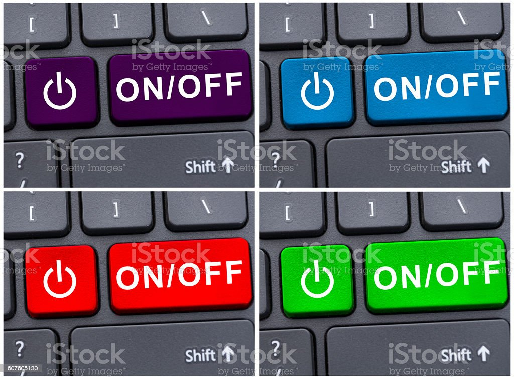 Laptop button with on and off text stock photo