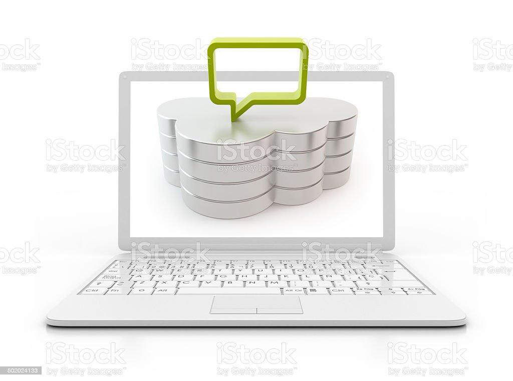 laptop - cloud computing server with speech bubble stock photo