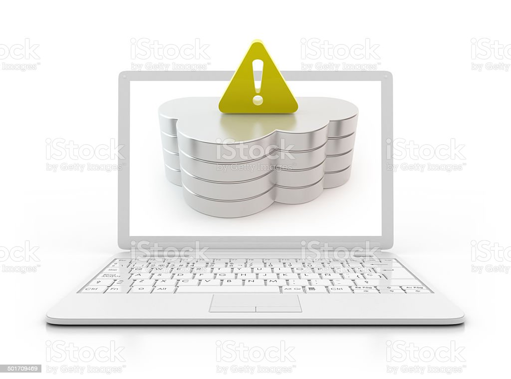 Laptop - cloud computing server with warnig sign stock photo