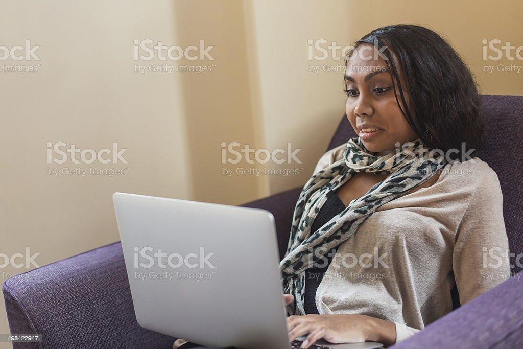 Laptop Computer Aboriginal Woman stock photo