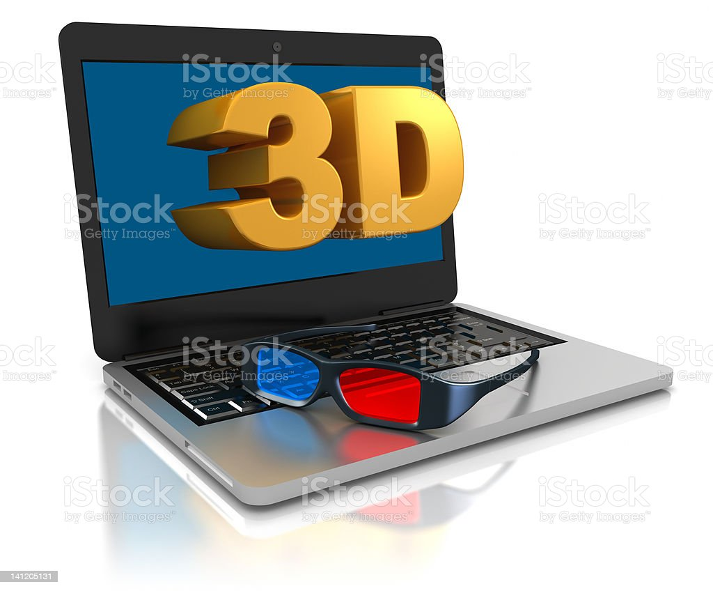Laptop computer and 3D text on it's screen. stock photo