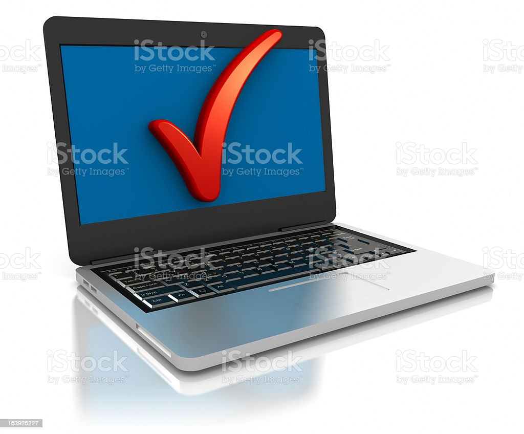 Laptop computer and Check Mark symbol on it's screen. royalty-free stock vector art