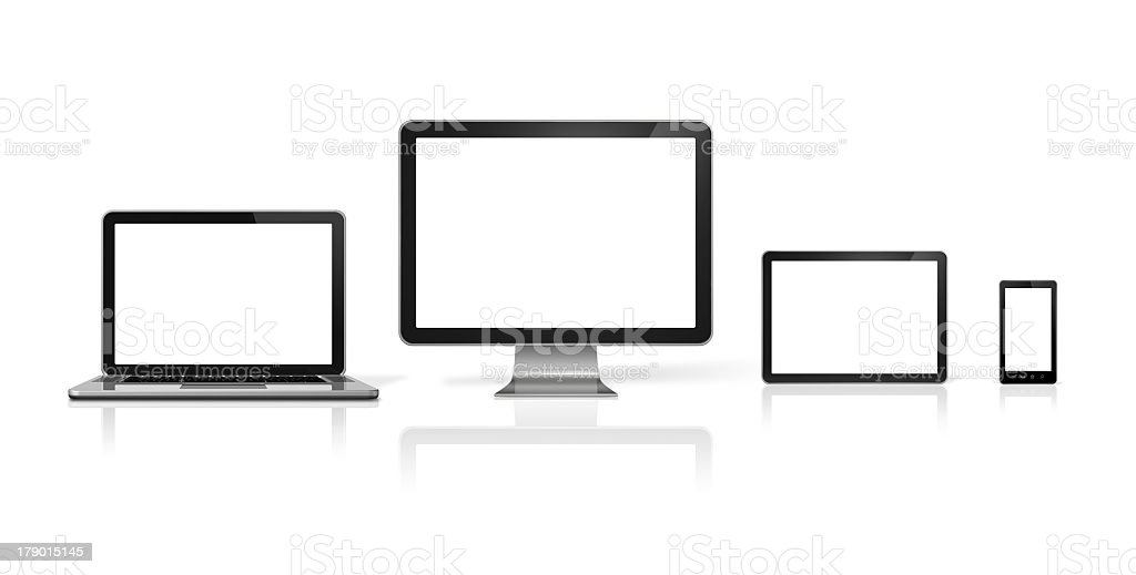 Laptop computer, desk top computer, tablet, and mobile phone stock photo