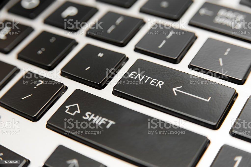 Laptop computer keyboard close-up stock photo