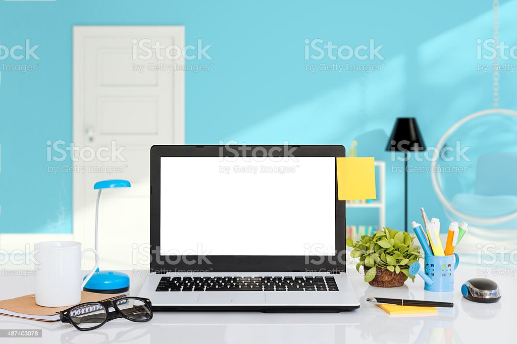 laptop computer on desk indoor space stock photo