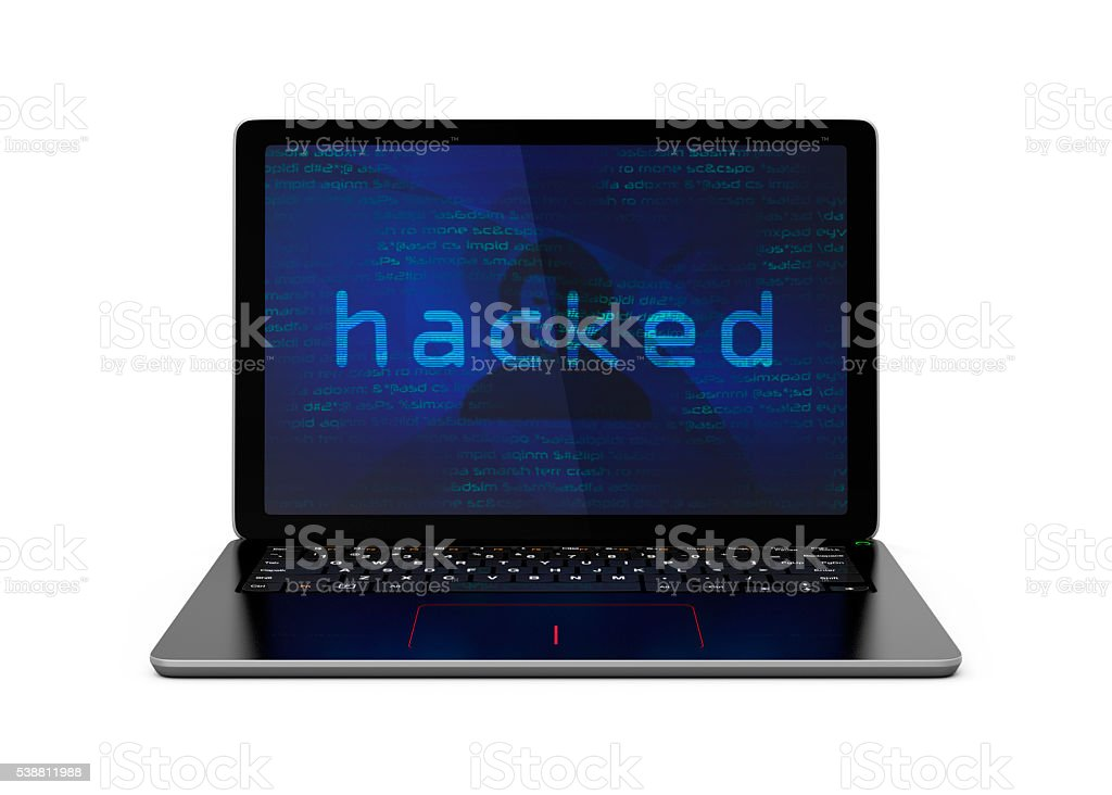 Laptop computer screen showing under hacker's attack stock photo