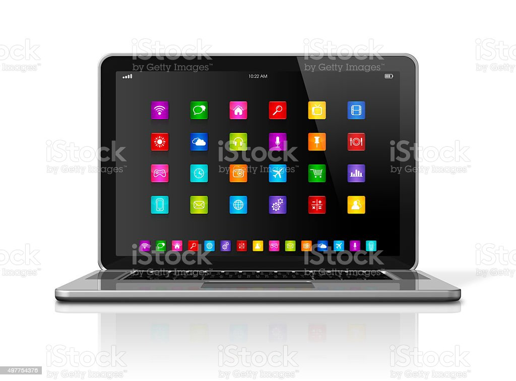 Laptop Computer with apps icons interface stock photo