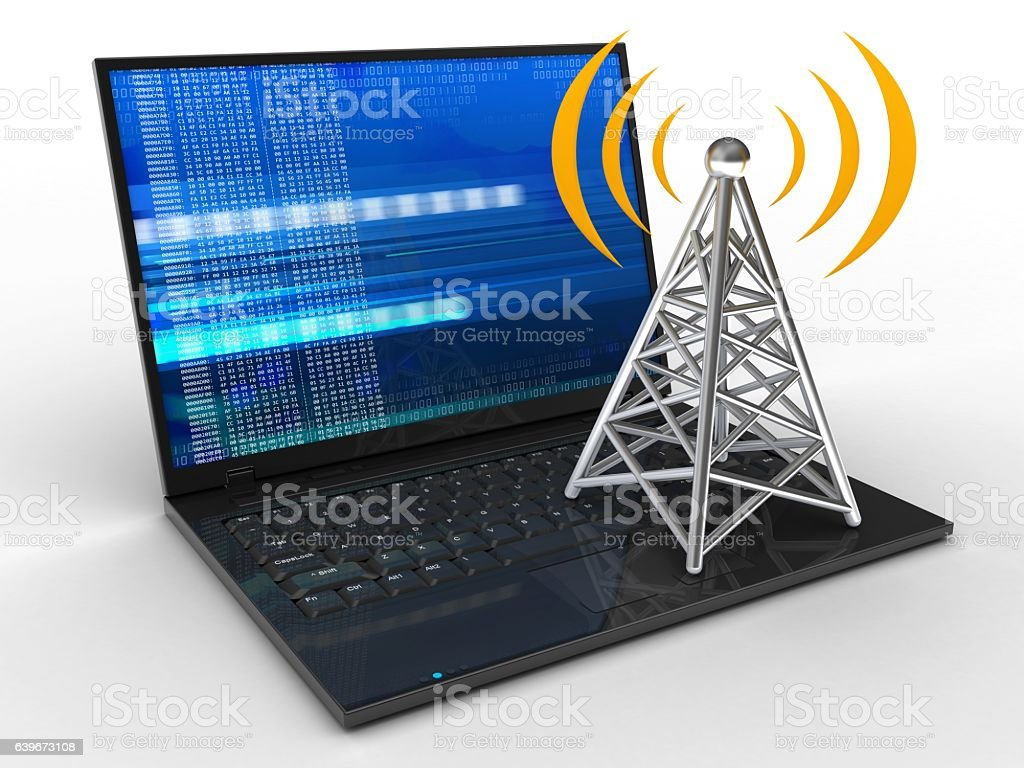 laptop computer  with digital screen and antenna stock photo