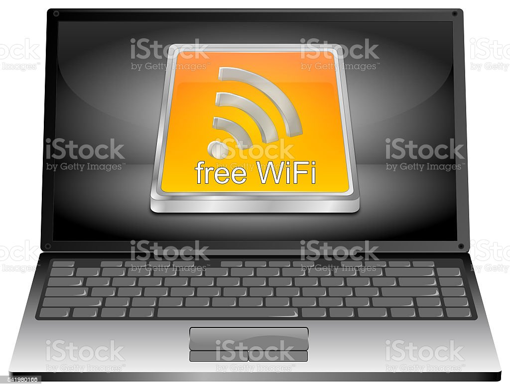 Laptop Computer with free WiFi button - 3D illustration stock photo