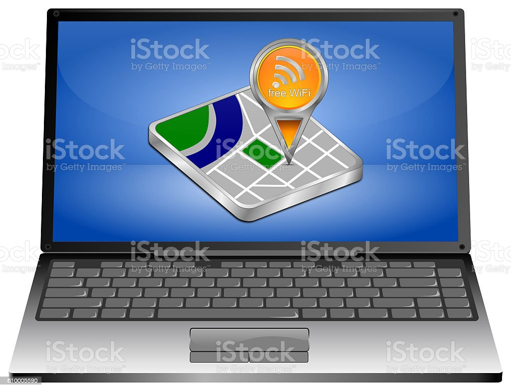 Laptop computer with map pointer with free WiFi Symbol stock photo