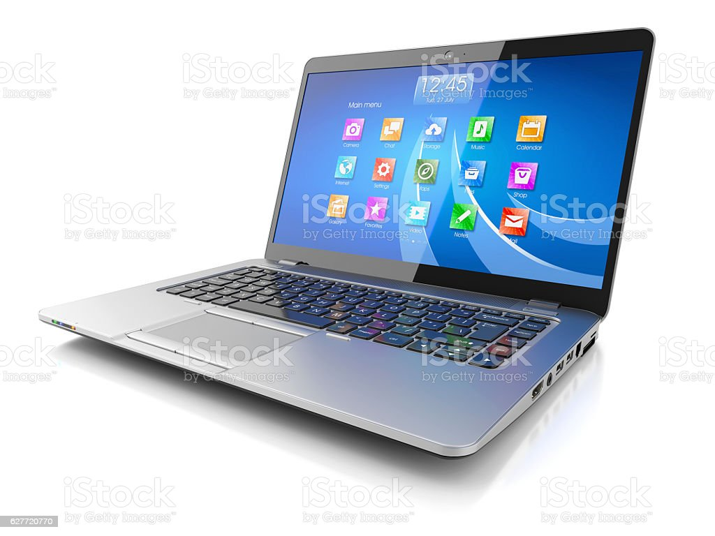 Laptop computer with OS stock photo