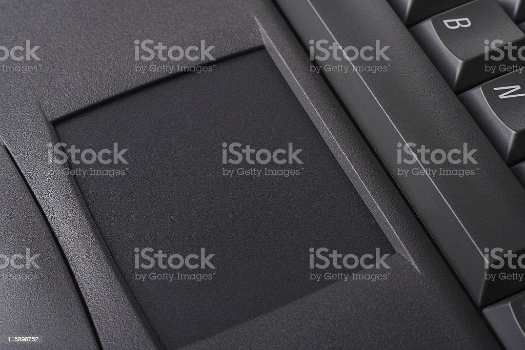 Laptop computer with trackpad stock photo