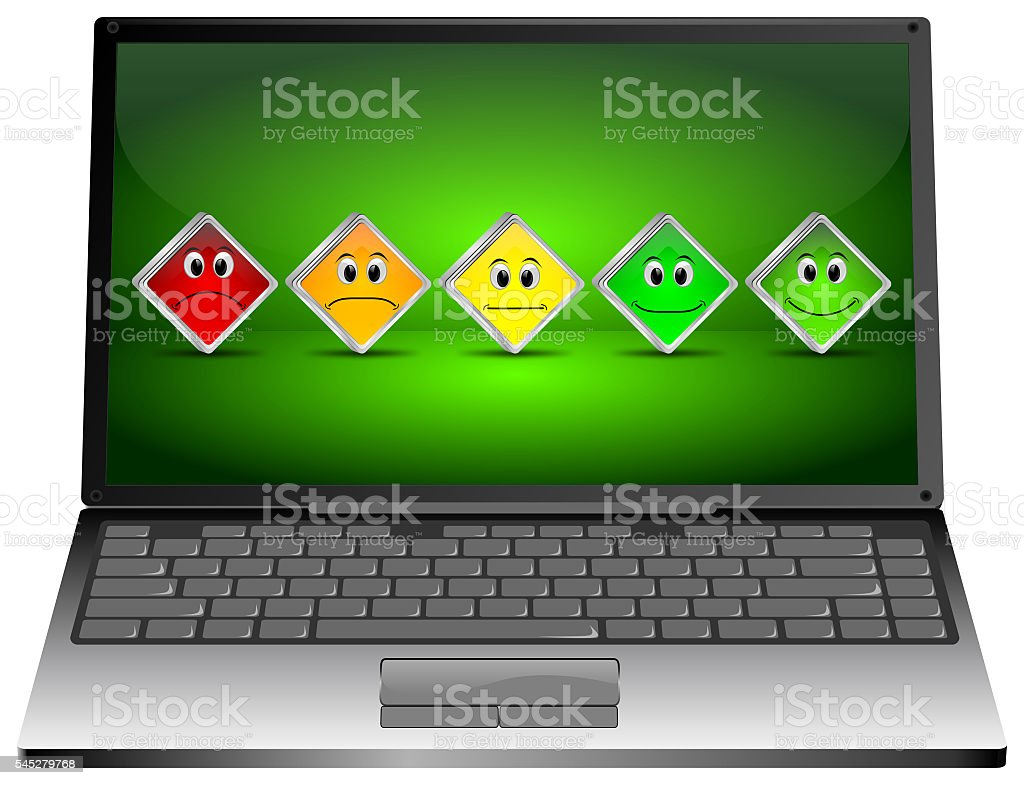 Laptop Computer with Voting Buttons - 3D illustration stock photo