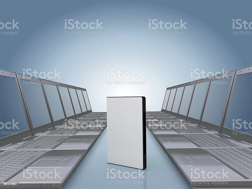 Laptop corridor with DVD software case royalty-free stock photo