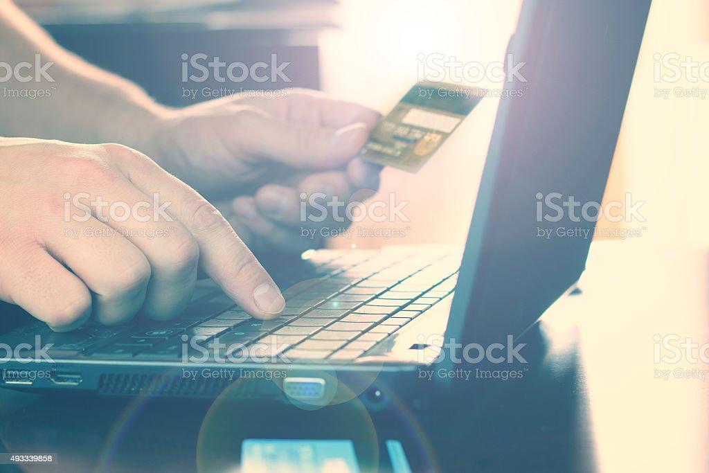 Laptop credit card payment stock photo