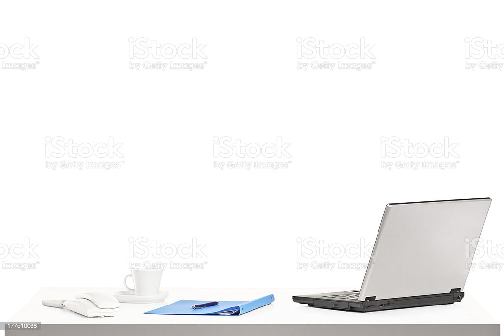 Laptop, cup of coffee and other office staff royalty-free stock photo