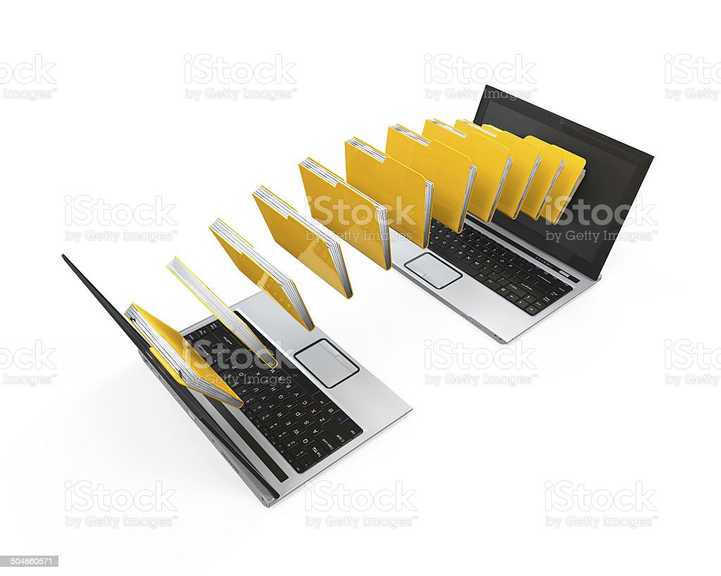 Laptop Data Transferring stock photo
