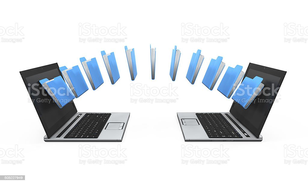 Laptop Data Transferring stock photo