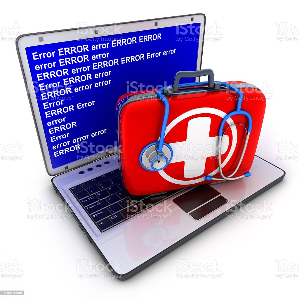 Laptop error and first-aid kit stock photo