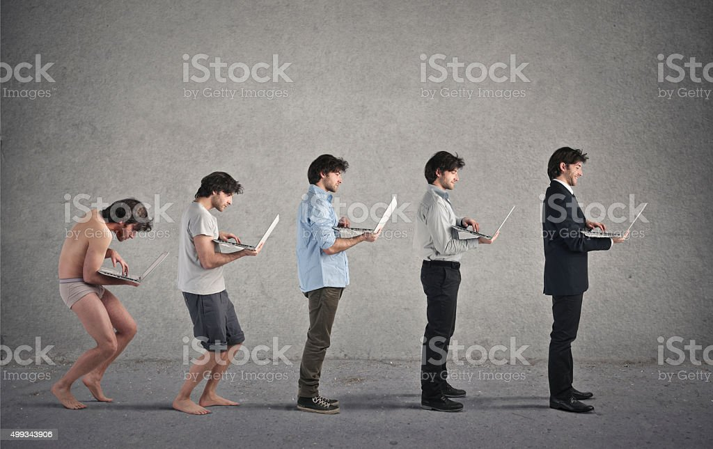 Laptop evolution stock photo