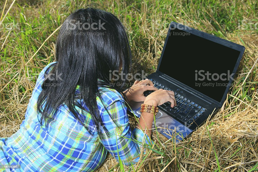 Laptop Field - Back View royalty-free stock photo
