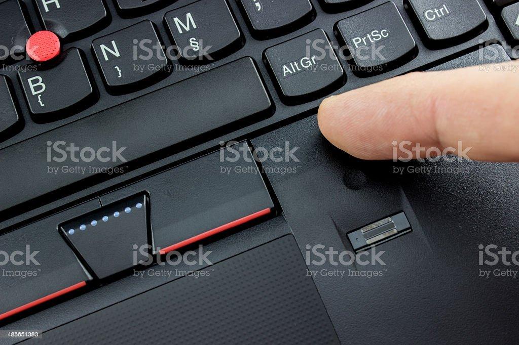 Laptop fingerprint reader stock photo