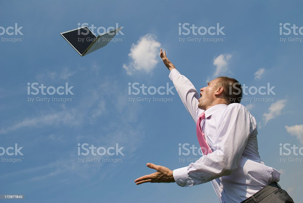 Laptop Flying High royalty-free stock photo