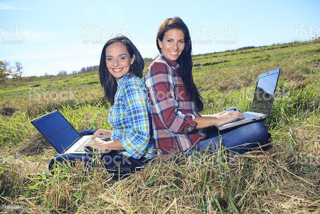 Laptop Friend - Happy royalty-free stock photo